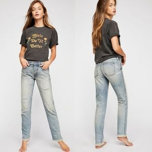 Free People Pioneer Distressed Relaxed Fit Jeans